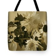 Sepia Garden Sunflower Bouquet Tote Bag