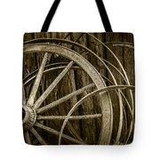 Sepia Photo Of Broken Wagon Wheel And Rims Tote Bag