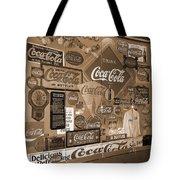 Sepia Toned Signs Of Coca Cola Tote Bag