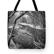 Serene Winter Stream Tote Bag