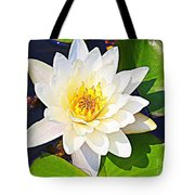 Serenity In White - Water Lily Tote Bag