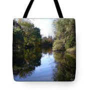 Serenity Pond Reflection At Limehouse Ontario Tote Bag