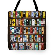 Serenity Prayer Reinhold Niebuhr Recycled Vintage American License Plate Letter Art Tote Bag