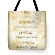 Serenity Prayer With Flowers And Butterflies Tote Bag