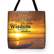 Serenity Prayer With Sunset By Sharon Cummings Tote Bag