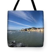 Sestri Levante With Blue Sky And Clouds Tote Bag