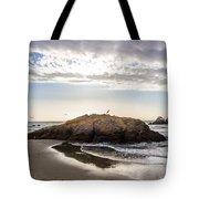 Setting Sun Against Rocks Near San Francisco Ca Cliff House Tote Bag