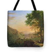 Setting Sun, Italy Oil On Canvas Tote Bag