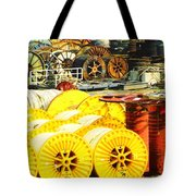 Sew A Needle Pulling Cable Dockside At Port Fourchoun Louisiana Tote Bag