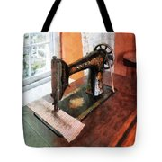 Sewing Machine Near Lace Curtain Tote Bag