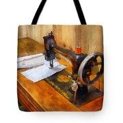 Sewing Machine With Orange Thread Tote Bag