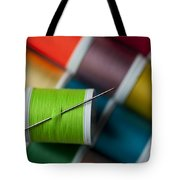 Sewing Needle With Bright Colored Spools Tote Bag