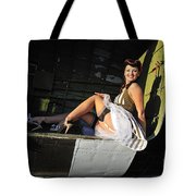 Sexy 1940s Style Pin-up Girl Sitting Tote Bag by Christian Kieffer