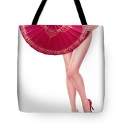 Sexy Asian Woman With Red Oriental Umbrella Tote Bag