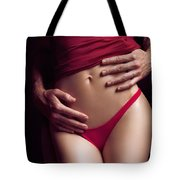 Sexy Couple Man Hands Embracing Woman Tote Bag