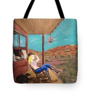 Sexy Cowgirl Sitting On A Chair At High Noon Tote Bag