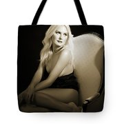 Sexy Fine Art Blond Girl In Chair 1285.01 Tote Bag