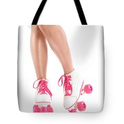 Sexy Girl Legs In White Pink Roller Skates Tote Bag
