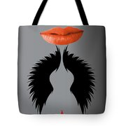 Sexy Lady Bird Lips Red White Black Expressions Tote Bag