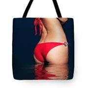 Sexy Woman Bottom In Red Bikini In Water Tote Bag