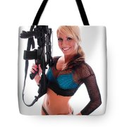 Sexy Woman Holding An Ar15 Tote Bag