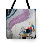 Sexy Woman Sitting In A Chair At A Nightclub Tote Bag