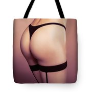 Sexy Woman Wearing Stockings With Suspenders Closeup Tote Bag