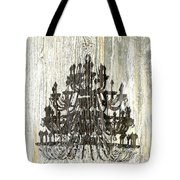 Shabby Chic Rustic Black Chandelier On White Washed Wood Tote Bag