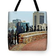 Shadow Representations Of People Coming To The Port In Donkin Reserve In Port Elizabeth-south Africa   Tote Bag