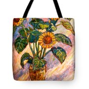 Shadows On Sunflowers Tote Bag