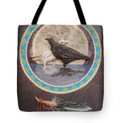 Shaman Black Raven And His Mate Medicine Woman Blue Fairy Animal Spirit Medicine Wheel Tote Bag