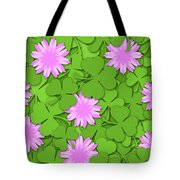 Shamrock Paper Cutting Clover Flowers Background Tote Bag