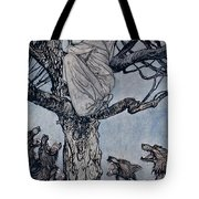 She Looked With Angry Woe At The Straining And Snarling Horde Below Illustration From Irish Fairy  Tote Bag