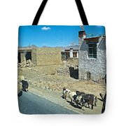 Sheep And Shepherd Along The Road To Shigatse-tibet Tote Bag