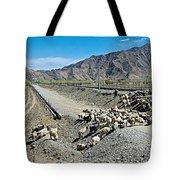 Sheep Crossing The Road To Shigatse-tibet  Tote Bag