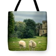 Sheep Grazing By Castle Tote Bag