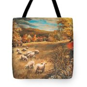Sheep In October's Field Tote Bag