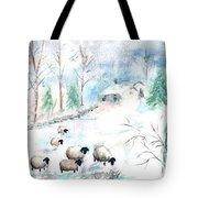 Sheep In Snow Tote Bag