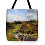 Sheep With Shepherd On A Quad Bike Tote Bag