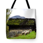 Sheeps And Rustic House Tote Bag