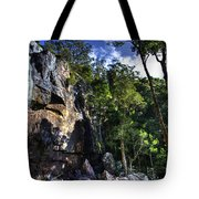 Sheer Cliff With Waterfall Tote Bag