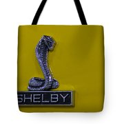 Shelby Gt350 Emblem On Yellow Tote Bag