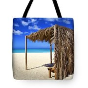 Shelter On A White Sandy Caribbean Beach With A Blue Sky And White Clouds Tote Bag
