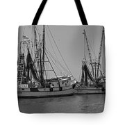 Shem Creek Shrimpers - Black And White Tote Bag by Suzanne Gaff