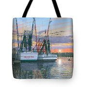 Shem Creek Shrimpers Charleston  Tote Bag by Richard Harpum