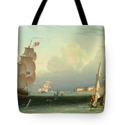Ship Going Out, Fort Independence Tote Bag