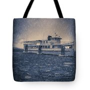Ship In A Snowstorm Tote Bag