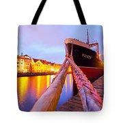 Ship In Harbor Tote Bag