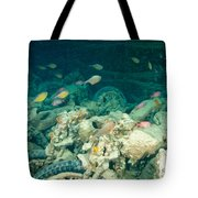 Ship Wreck With Motorbikes Tote Bag