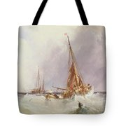 Shipping In The Solent 19th Century Tote Bag